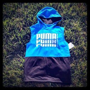 Puma hoodie kids boys blue sleeveless top 14-16